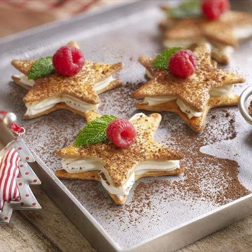 Estrellas con mousse de chocolate blanco