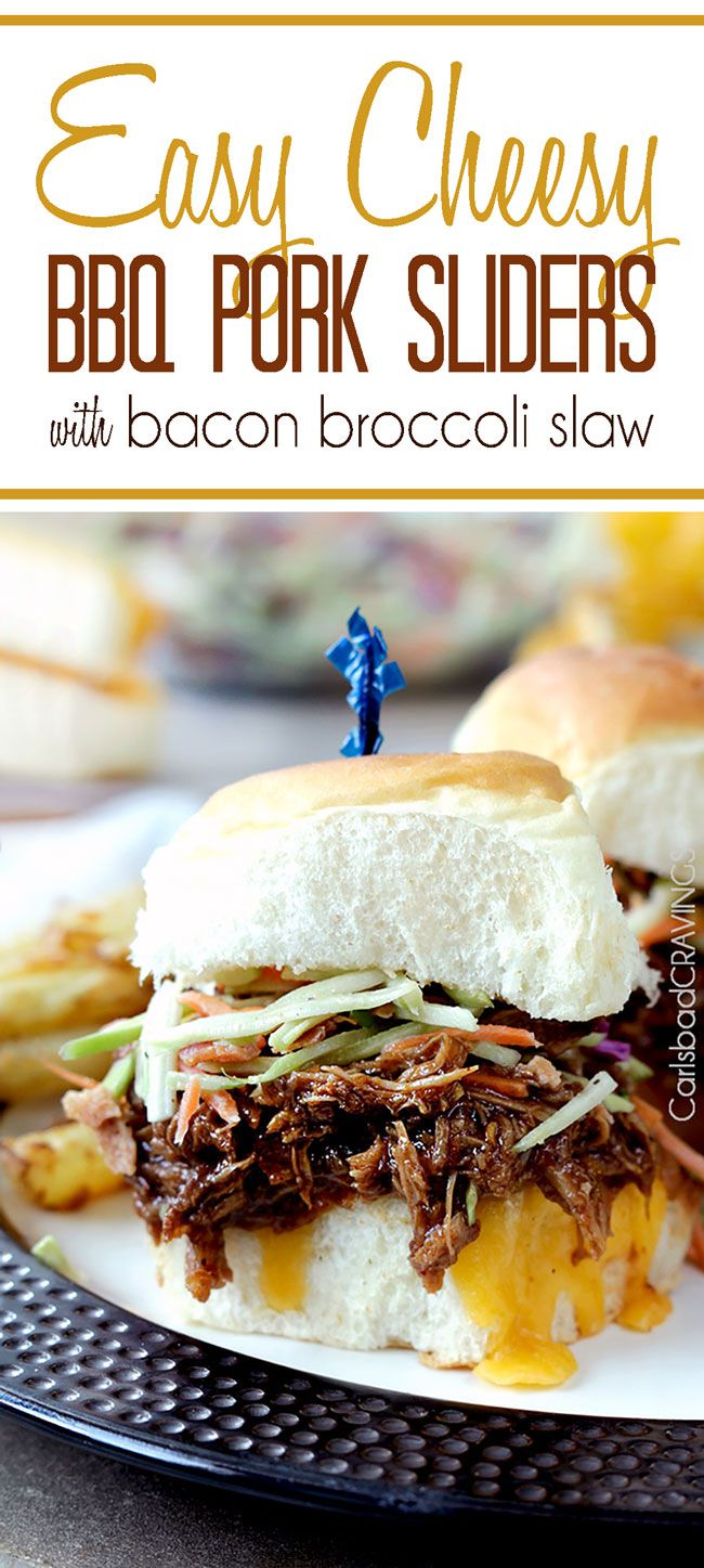 Cheesy BBQ pork Sliders with Broccoli slaw...soft Hawaiian roll buns smothered in cheddar cheese, topped with sweet, smokey, melt in your mouth tender pork and topped with bright, light broccoli slaw and sprinkled with crispy bacon