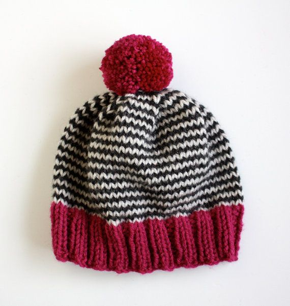 The Stripe-A-Thon Hat in Magenta, Heather Black, & Platinum - MADE TO ORDER on Etsy, $34.00