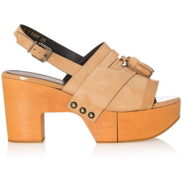 Robert Clergerie Clara Leather Platform Sandals (1.125 BRL) ❤ liked on  Polyvore featuring shoes