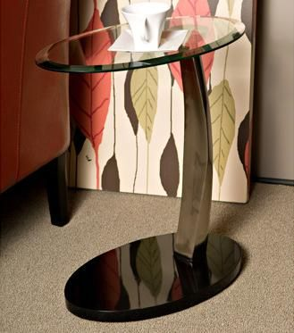 Brushed Chrome Oval Chairside #Table By Powell