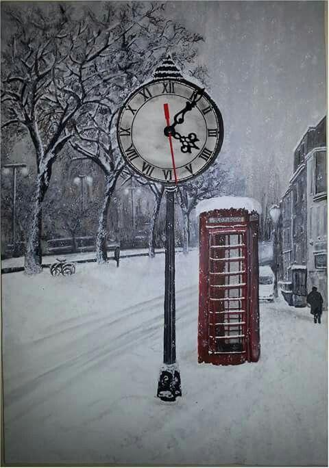 35*50 tuval  Akrilik boya kış temalı Londra kulübenin önündeki lambayı saat olarak değiştirdim kendi fikrim saat çalışır durumda