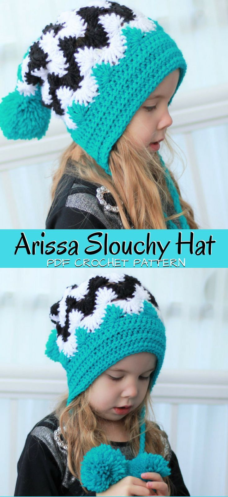 8d1eb8607af Cute zigzag chevron slouchy beanie hat crochet pattern with adorable  pompoms. Love this teal color