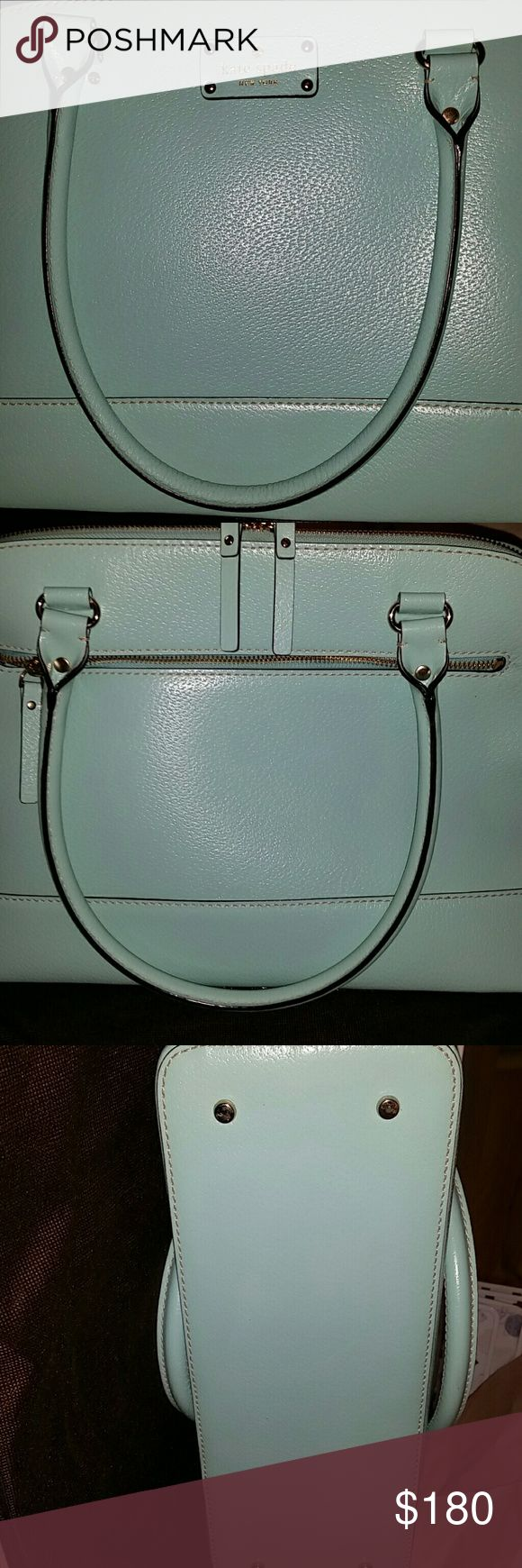 "Kate Spade Rachelle Wellesley TODAY ONLY!! Gorgeous Tiffany blue, MINT condition, never carried, gold hardware & feet, 1 zippered exterior pocket & interior pocket,  2 smaller interior pockets, approx 14""w x 11""t x 4""d, 8""handle drop. It's tearing me up to sell this. I love this bag so much. But the handles are too long for me. Dust bag incl. Perfect for a gift without paying full price. kate spade Bags Satchels"