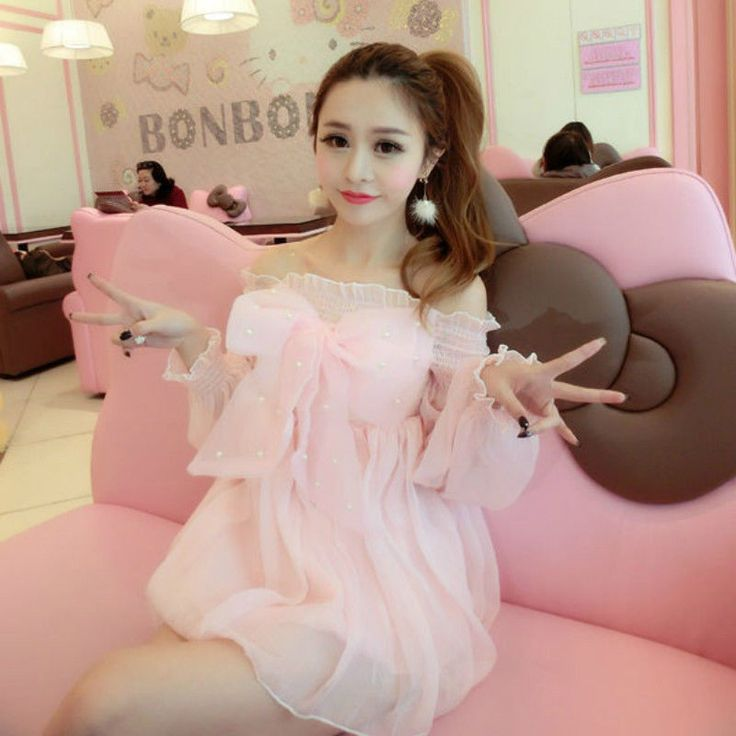 Lolita Sweet Dress Japanese Womens Cute Bowknot Princess Boat Neck Chiffon Pink