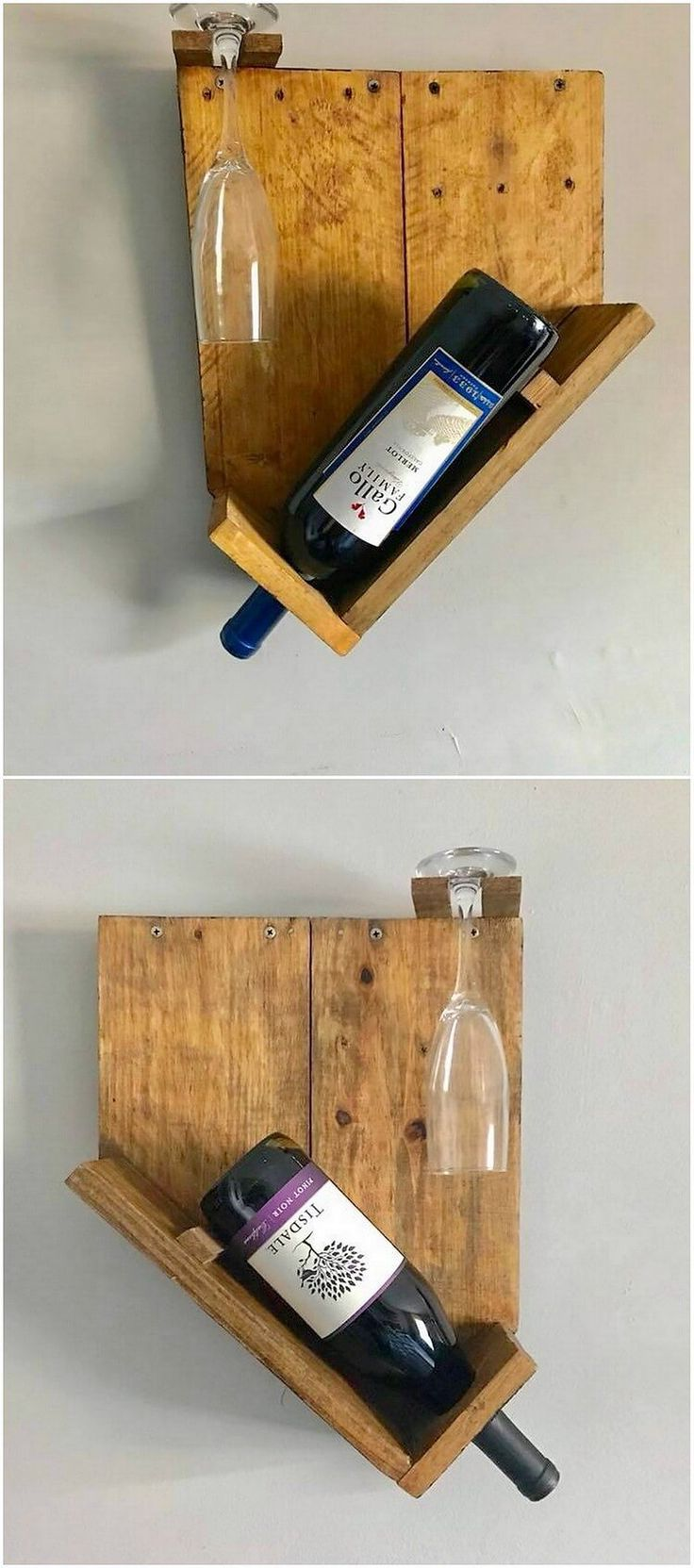 Different size of wood pallet wine racks is set into the positioning effect of the vertical variations where they are attractively used for the bar counter areas. This is one such kind of the outstanding unique wine rack piece of wood pallet. Although it might make you feel as simple in designing but overall it will look so pleasant and attractive.