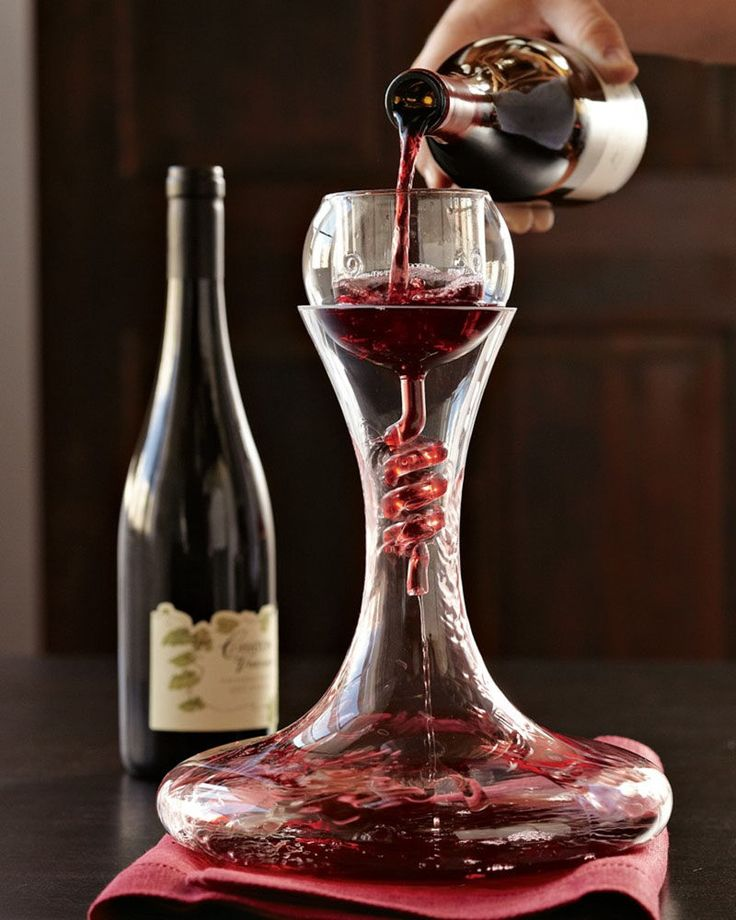 10 Unique Modern Wine Decanters // The spiral funnel of this aerator/decanter combo adds more oxygen to the wine as it flows into the wide base of the decanter.
