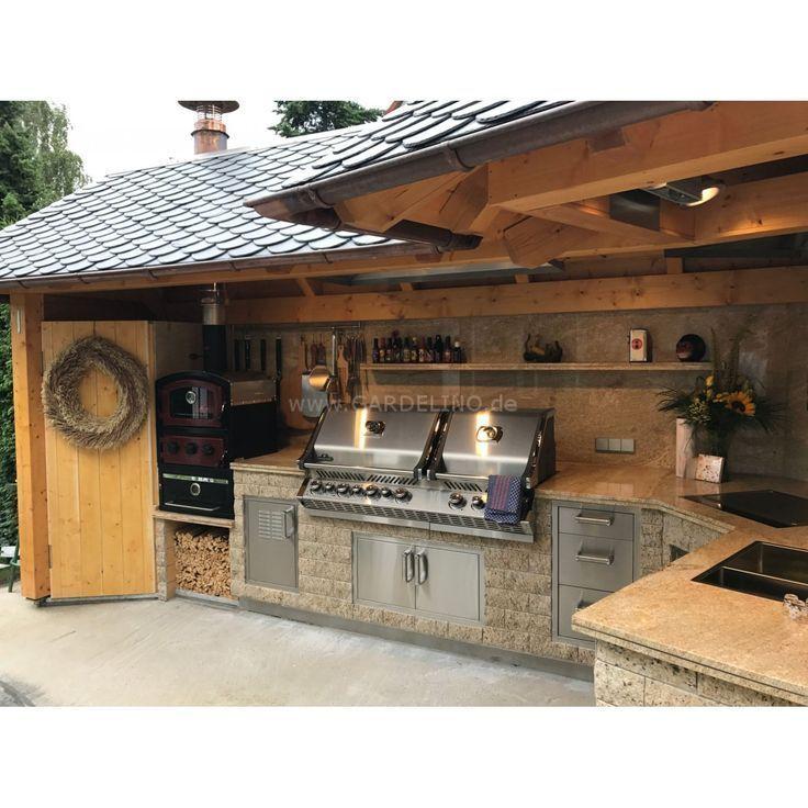 Luxuriöse Außenküche mit Napoleon BiPro825 Gasgrill, Teppanyaki-Grill mit Holz und Überdachung // luxury outdoor kitchen with napoleon gas grill with roof and made of wood – aubenkuche.todaypin.com