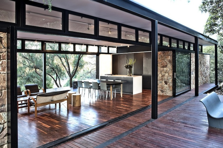Homes which celebrate their natural, woodsy environment.