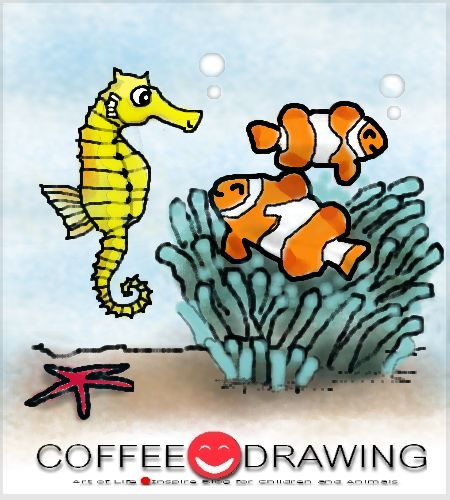 HOW TO DRAW STEP by STEP FOR KIDS PART 43 [ ม้าน้ำ & ปลาการ์ตูน ,Sea horse & Clownfish, Anemonefish] | COFFEE-DRAWING