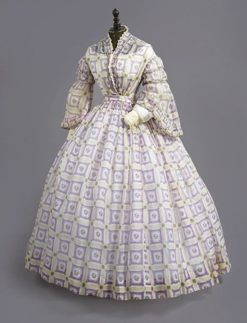1860 from Christie's  Sheer in squares, pagoda sleeves, self fabric trim. http://fripperiesandfobs.tumblr.com/post/9910550634/day-dress-ca-1860-from-christies
