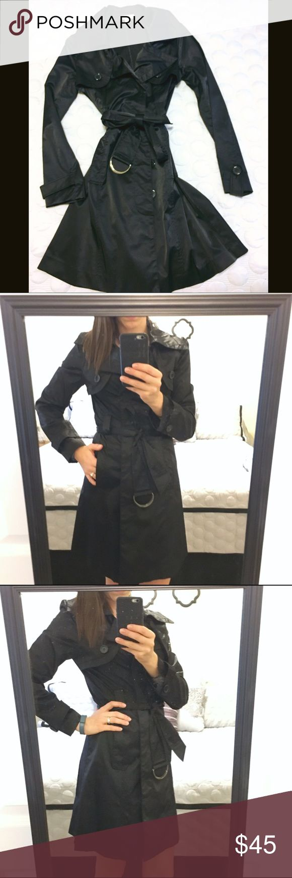 F21 Black lightweight trench coat Black lightweight trench coat from Forever 21. Satiny material. Like new! Forever 21 Jackets & Coats Trench Coats