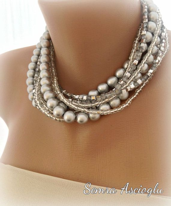 Customized. Etsy listing at https://www.etsy.com/listing/175234157/handmade-chunky-bridal-silver-pearl
