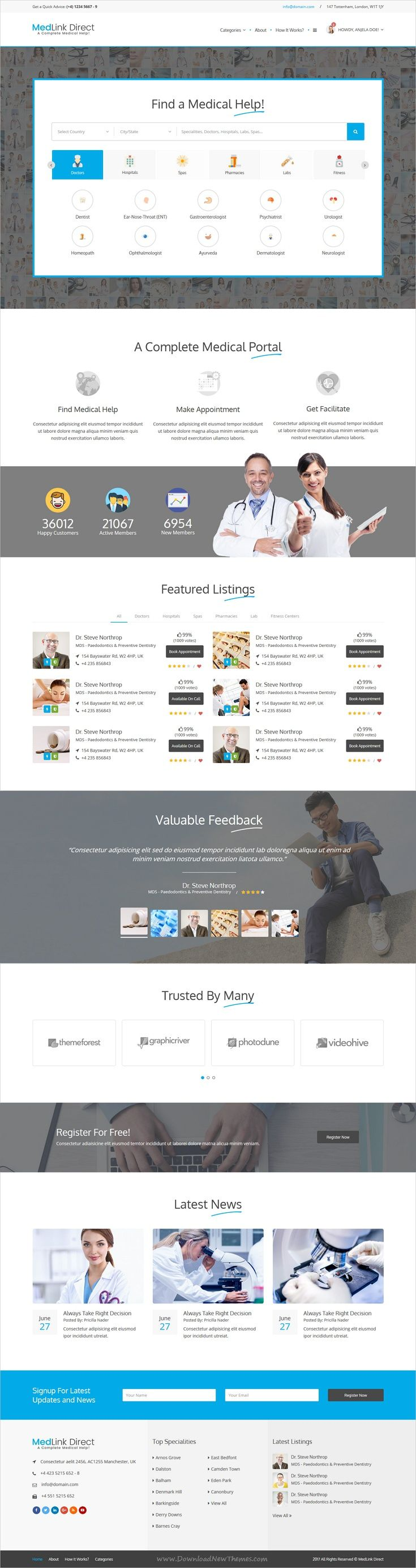 Medlink is a complete #HTML bootstrap template for professional #medical #directory website with 15 homepage layouts, appointment, private email messages and amazing features download now➩ https://themeforest.net/item/doctor-directory-html-template/19534690?ref=Datasata