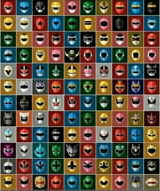 Capacete de todos os Power Rangers