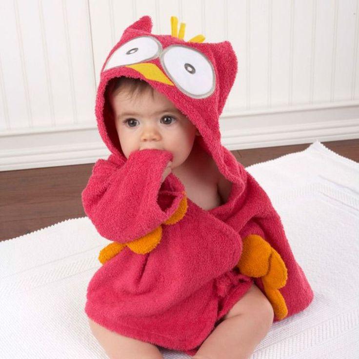 Peignoir bébé 100% coton rouge hibou.