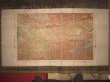 CARCASSONNE,carte géologique couleur (1899). Entoilée, 27 feuilles, 112x 60 cm.
