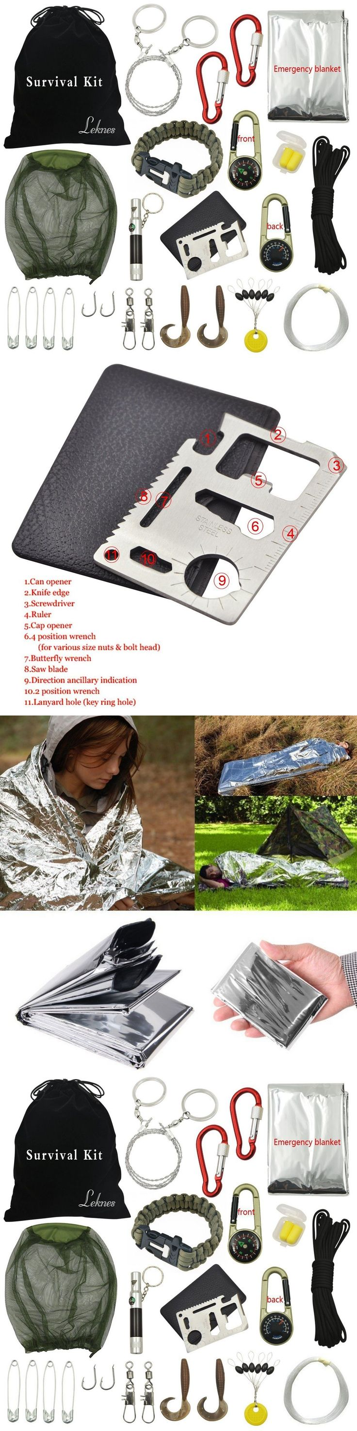 Other Emergency Gear 181415: Outdoor Survival Kit Camping Emergency Gear Pocket Tools Card Sos Help Hike New BUY IT NOW ONLY: $33.98