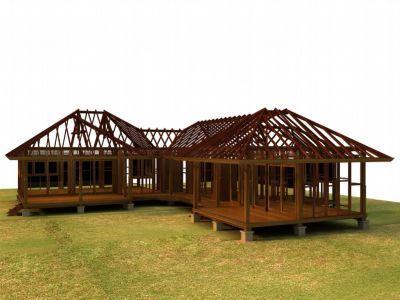 Kits maison tahiti maison polynesie pinterest maison for Jackson wyoming alloggio cabine