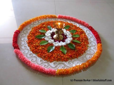 Easy and simple rangoli using flowers | Creative rangoli designs by Poonam Borkar - YouTube