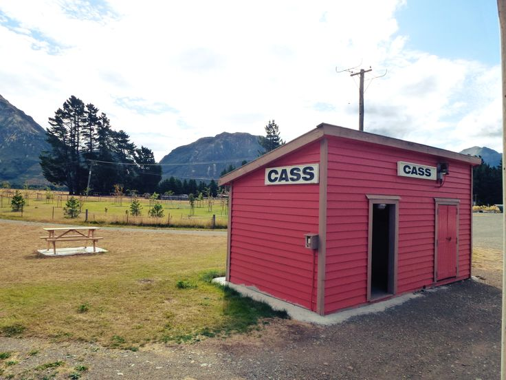 The historical red station at Cass, you'll travel past here on your way to Arthurs Pass on the TranzAlpine