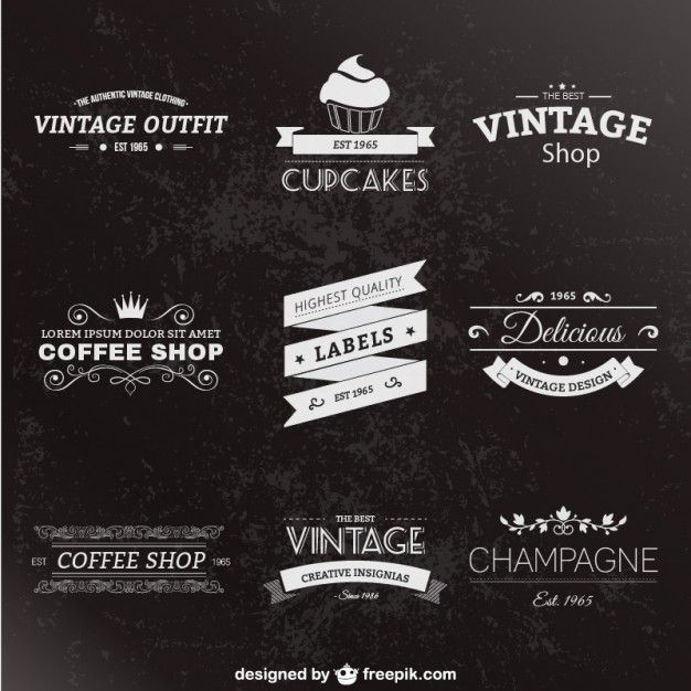 Retro style labels pack Free Vector
