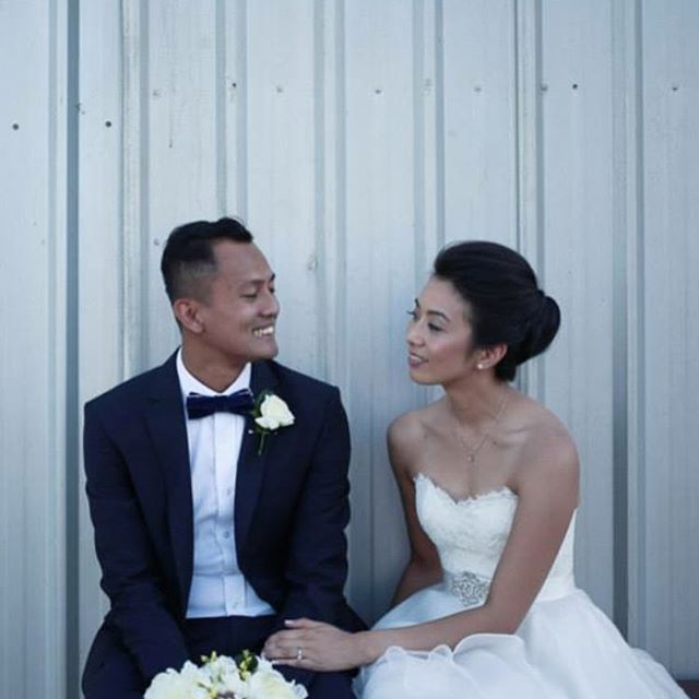 Nhung and Kiki @twinerestaurant Photo @somethingblueau #hair #makeup #bride #groom  #flawless #glowingskin #strobing #weddingday www.maplelane.com.au