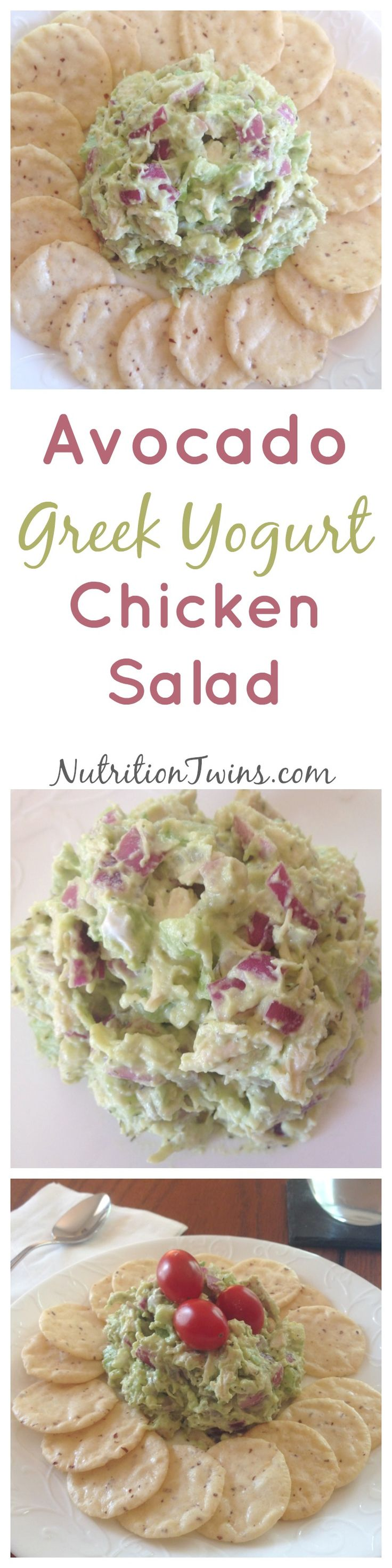 Avocado Greek Yogurt Chicken Salad| Only 177 Calories | Packed with protein (20 grams) for satiation | Easy Weekday Lunch | For MORE Nutrition & Fitness Tips & RECIPES please SIGN UP for our FREE NEWSLETTER www.NutritionTwins.com