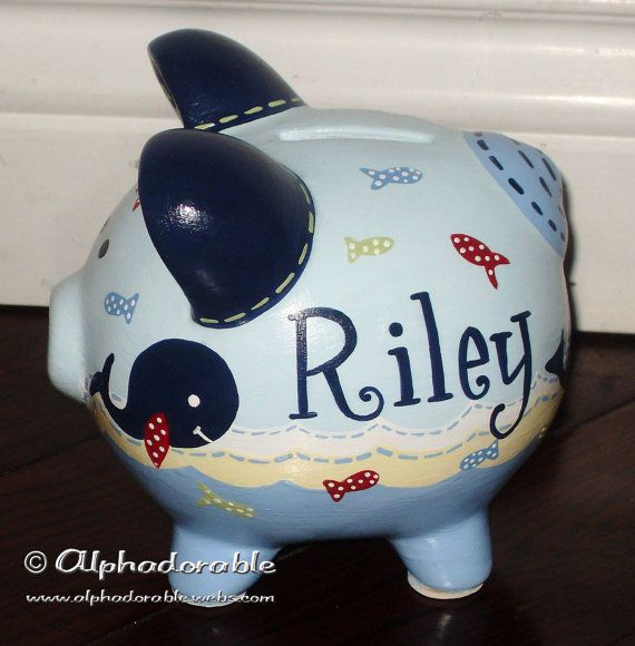 Pottery barn Jackson Custom hand painted ceramic personalized piggy by Alphadorable, $40.00
