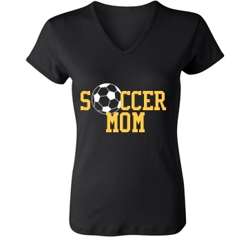 soccer mom: Custom Junior Fit Bella 1x1 Rib V-Neck T-Shirt - Customized Girl