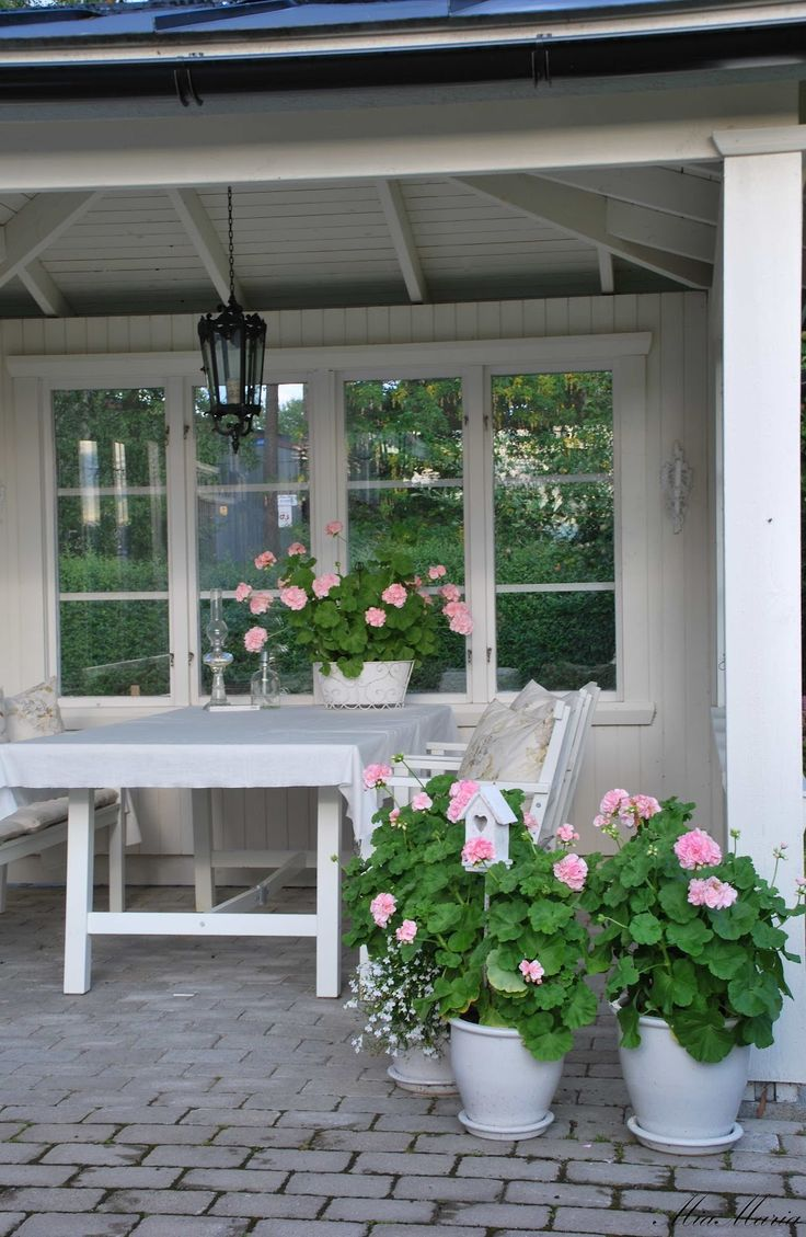 pink geraniums look lovely with white wooden furniture and planters