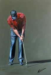 Tiger Woods putting at the Dubai Desert Classic from Mark Robinson. #golf #art #dubai #tigerwoods #usa #mydubai Note: Visit the Mark Robinson website for more details for available stock, commissions or artist enquiries - www.robinsongolfart.com