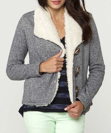 Take a look at this Charcoal & White Toggle Button Teacup Jacket by O'Neill on #zulily today!