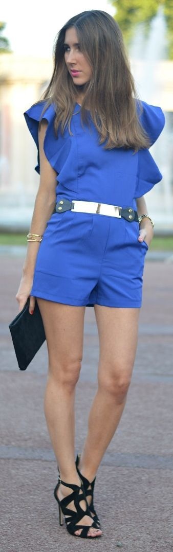 Sheinside Cobalt Blue Fitted Ruffle Shoulder Romper