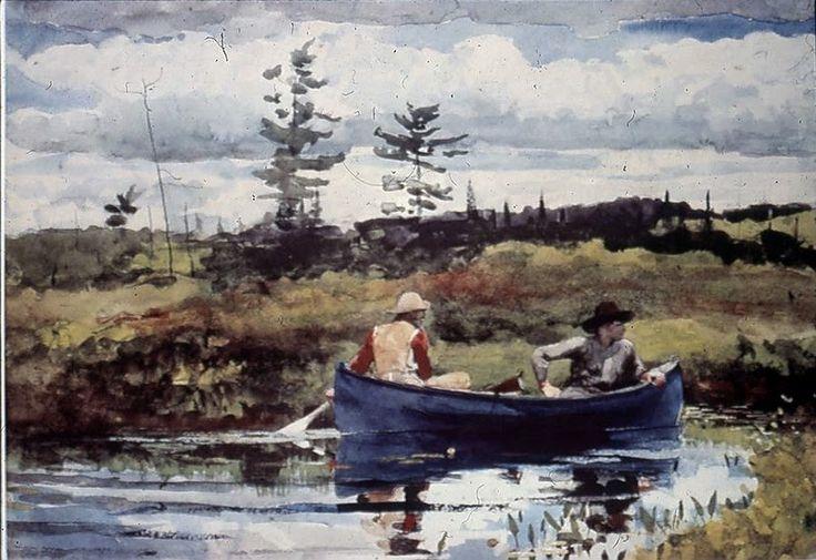 Homer - Adirondack, The Blue boat   Winslow Homer ...