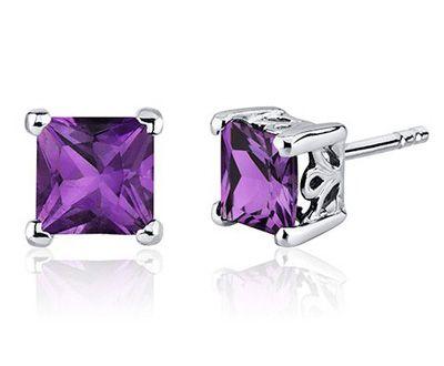 Princess Cut Amethyst Scroll Design Stud Earrings in Sterling Silver