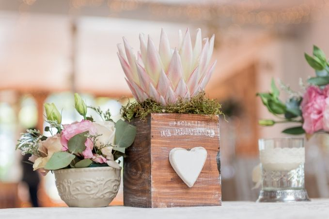 South African Protea decoration for a wedding table