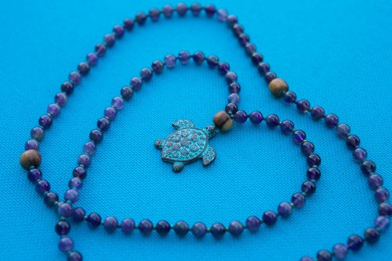 Amethyst Mala Necklace Purple Mala Necklace by SlothAndCo