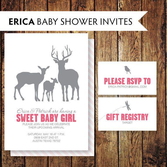printable diy erica deer family baby shower invitation 4 x 6