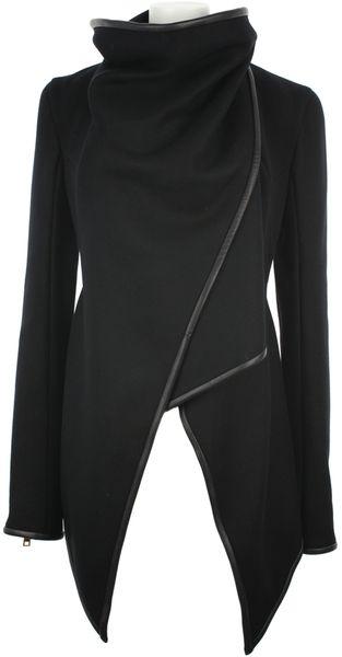 Gareth Pugh Black Virgin Wool and Lambskin Asymmetrical Jacket