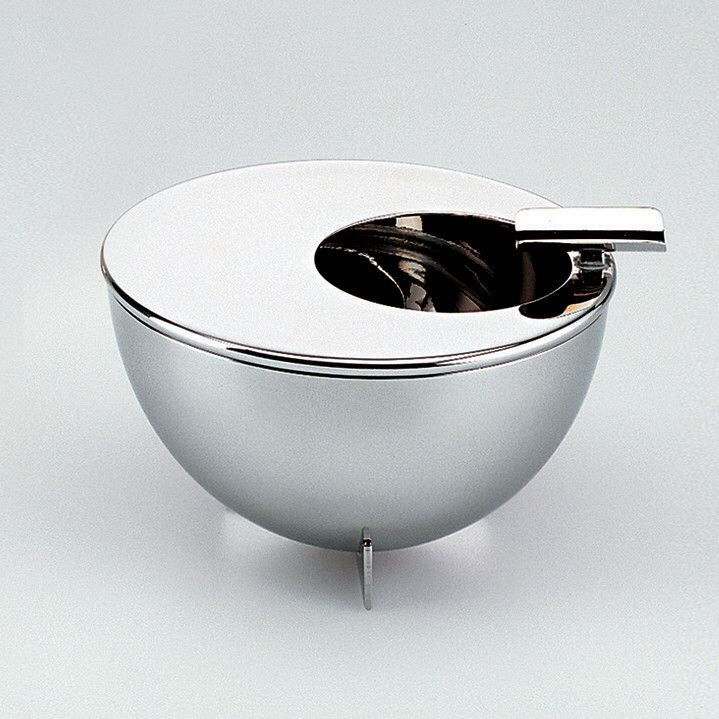 #Ashtray with round opening and cigarettes-stand, in 18/10 stainless steel mirror polished, Designed by Marianne #Brandt