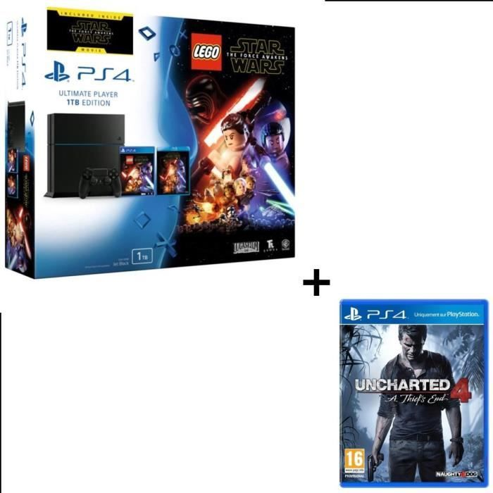 400.11 € ❤ Offre #PS4 1 To + #Lego #StarWars : Le Réveil de la Force + #StarWarsVII Blu Ray + #Uncharted4 : A Thief's End Jeu PS4 ➡ https://ad.zanox.com/ppc/?28290640C84663587&ulp=[[http://www.cdiscount.com/jeux-pc-video-console/consoles/ps4-1-to-lego-star-wars-le-reveil-de-la-force-j/f-1033916-bunswunchart.html?refer=zanoxpb&cid=affil&cm_mmc=zanoxpb-_-userid]]