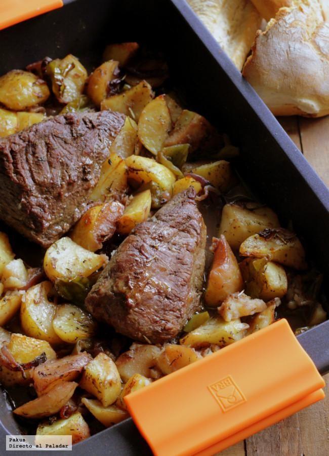Picanha al horno con patatas y pimientos