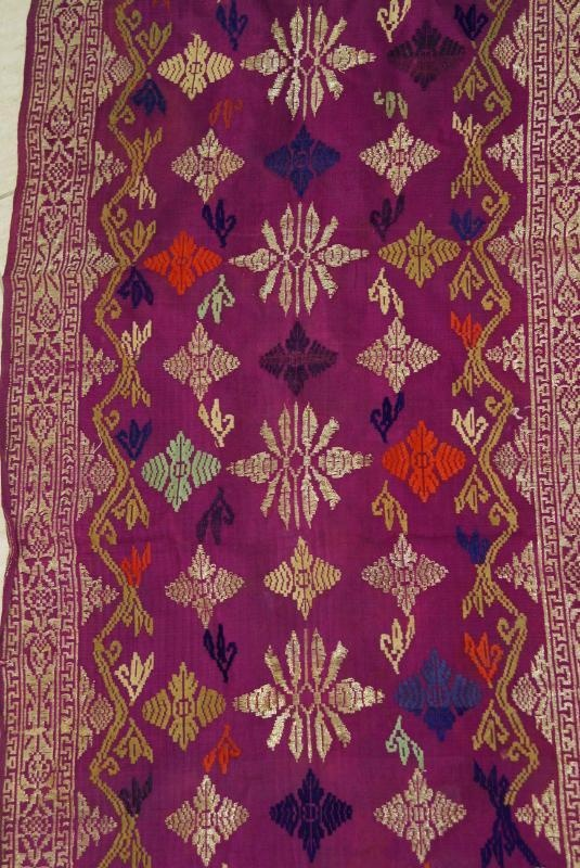 Hand Spun and Hand Woven Metallic Gold Embroidery Brocade, Damask, Songket (sungkit), textile Art, Balinese Raja. Pink, Colorful. item SG21 Offered by Cheetahdmr@aol.com asmatcollection on ebay and bonanza.com