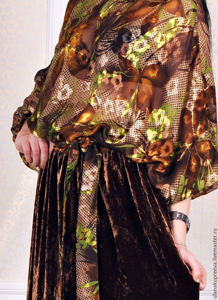 Купить Скидка -50%Платье низ из бархата, верх - шифон деворе - платье, Платье нарядное