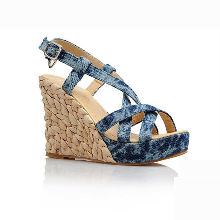 High heel wedges strap sandals small yards 31 32 33 plus size 40 41 42 43 women's shoes free shipping