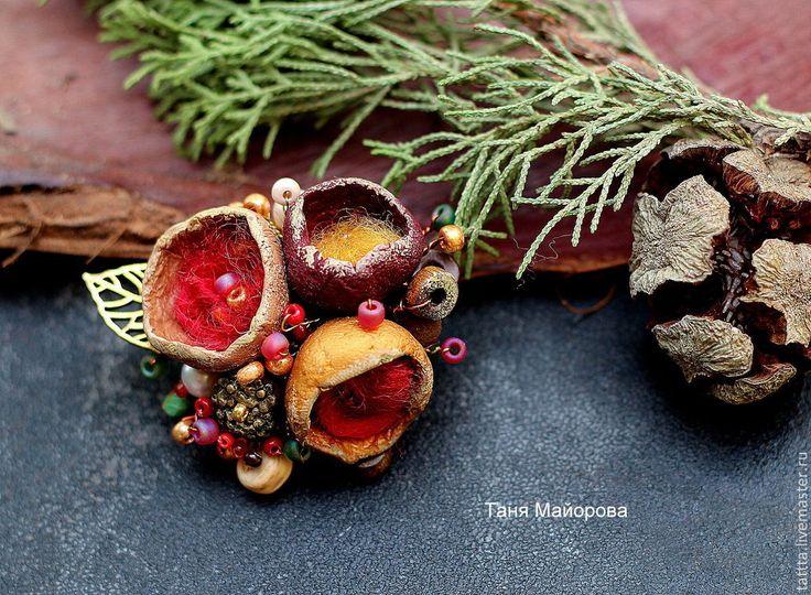 Купить Брошь из полимерной глины волшебные бутоны 8 - брошь, брошь осень, осенняя брошь