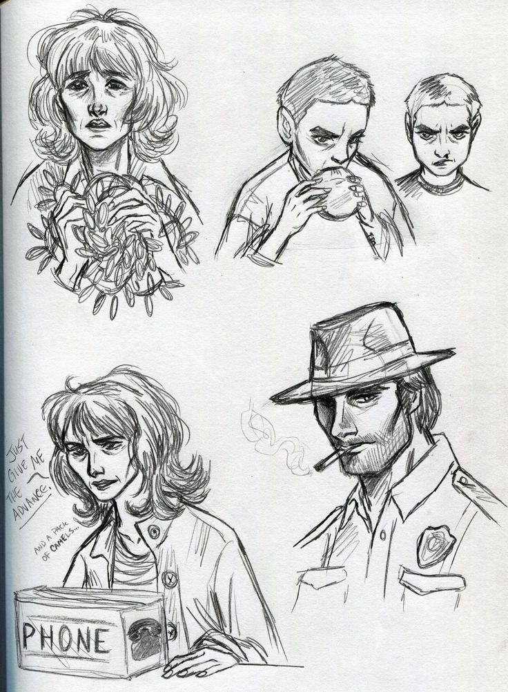Stranger Things sketches - Joyce Byers, Chief Hopper, Eleven