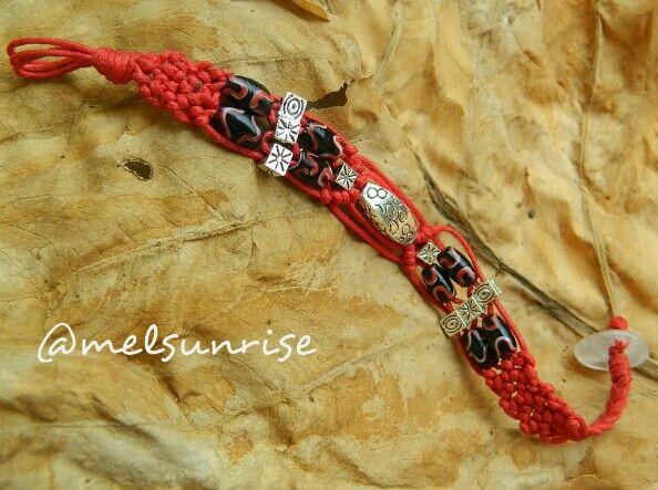 Macramed java beads