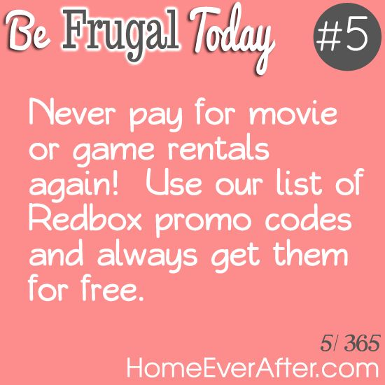 Be Frugal Today #5: Use Redbox Promo Codes to Get Free Movies and Games http://www.homeeverafter.com/be-frugal-today-5-use-redbox-promo-codes-to-get-free-movies-and-games/ at #HomeEverAfter. #frugal